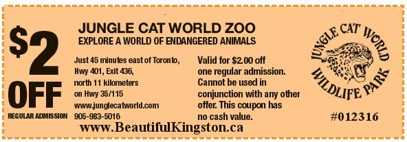 Jungle Cat World $2.00 Off Coupon.